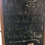 Tafel mit Beschriftung - letzte Ernte 2020